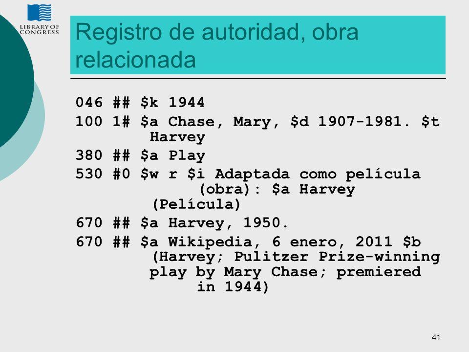41 Registro de autoridad, obra relacionada 046 ## $k 1944 100 1# $a Chase, Mary, $d 1907-1981. $t Harvey 380 ## $a Play 530 #0 $w r $i Adaptada como p