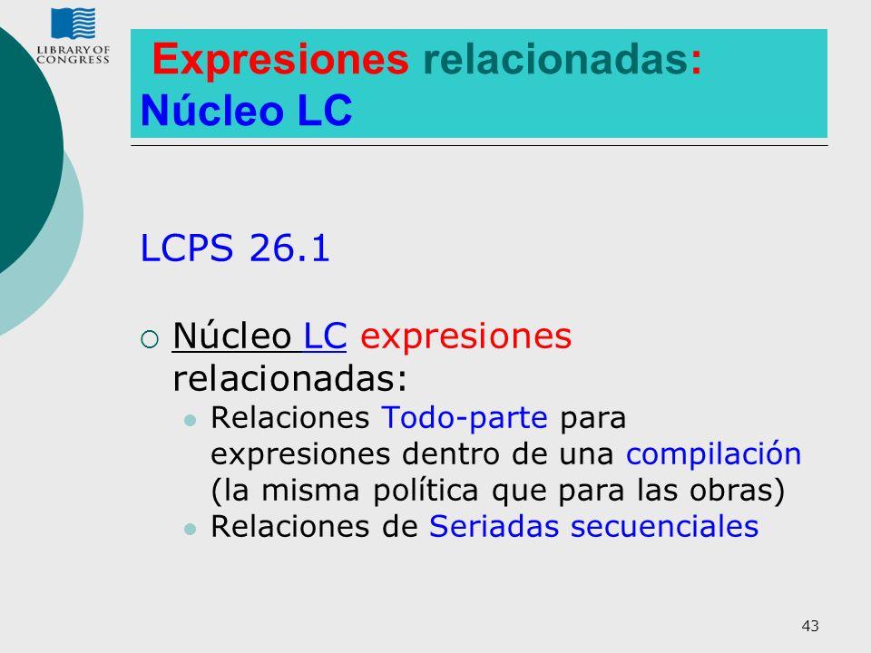 43 Expresiones relacionadas: Núcleo LC LCPS 26.1 Núcleo LC expresiones relacionadas: Relaciones Todo-parte para expresiones dentro de una compilación