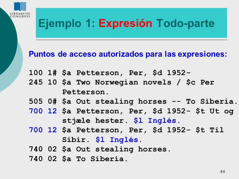 44 Ejemplo 1: Expresión Todo-parte Puntos de acceso autorizados para las expresiones: 100 1# $a Petterson, Per, $d 1952- 245 10 $a Two Norwegian novel