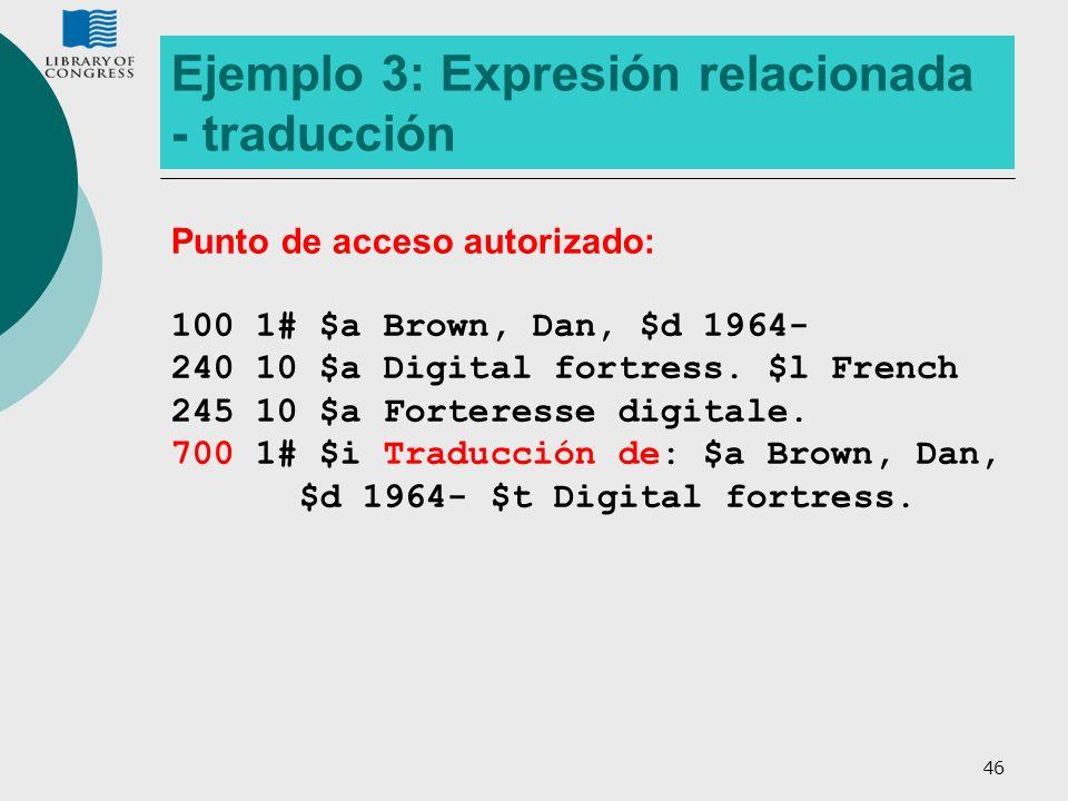 46 Ejemplo 3: Expresión relacionada - traducción Punto de acceso autorizado: 100 1# $a Brown, Dan, $d 1964- 240 10 $a Digital fortress. $l French 245