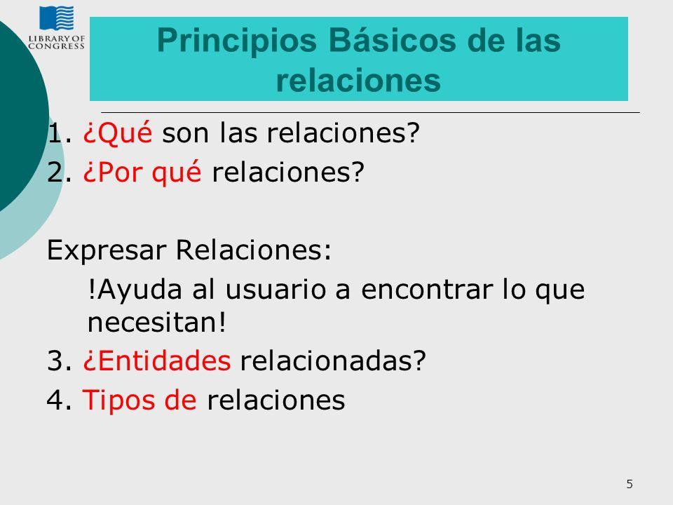 5 Principios Básicos de las relaciones 1. ¿Qué son las relaciones? 2. ¿Por qué relaciones? Expresar Relaciones: !Ayuda al usuario a encontrar lo que n