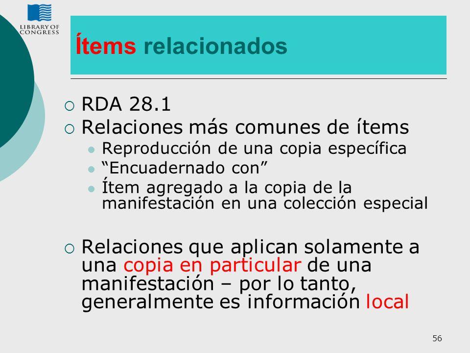 56 Ítems relacionados RDA 28.1 Relaciones más comunes de ítems Reproducción de una copia específica Encuadernado con Ítem agregado a la copia de la ma