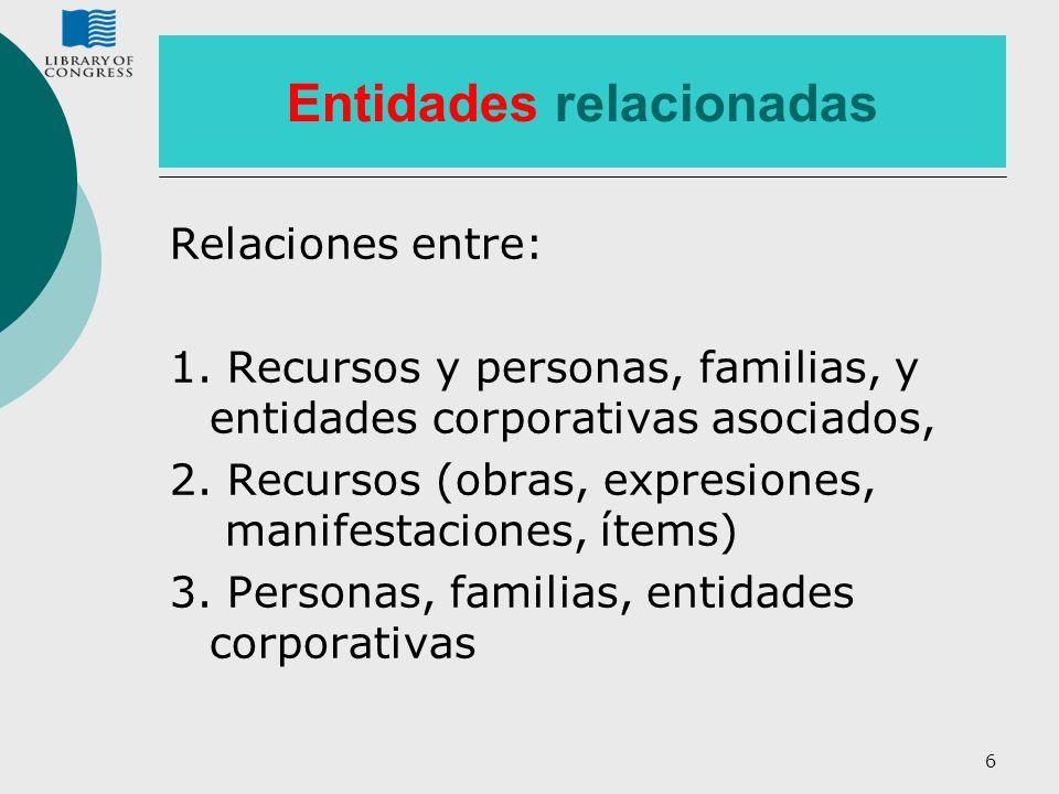 6 Entidades relacionadas Relaciones entre: 1. Recursos y personas, familias, y entidades corporativas asociados, 2. Recursos (obras, expresiones, mani