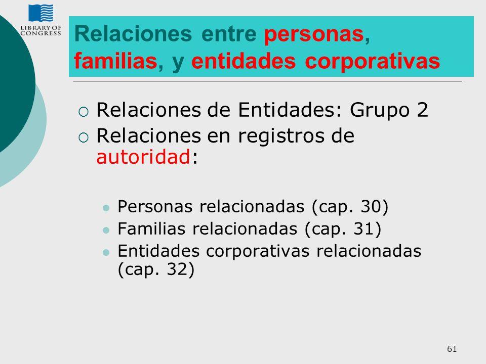 61 Relaciones de Entidades: Grupo 2 Relaciones en registros de autoridad: Personas relacionadas (cap. 30) Familias relacionadas (cap. 31) Entidades co