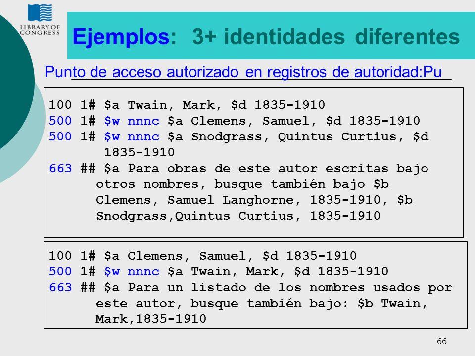 66 Ejemplos: 3+ identidades diferentes 100 1# $a Twain, Mark, $d 1835-1910 500 1# $w nnnc $a Clemens, Samuel, $d 1835-1910 500 1# $w nnnc $a Snodgrass