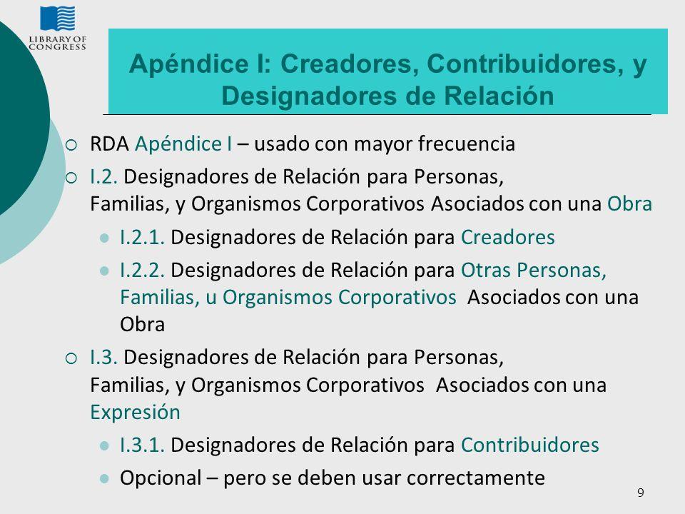 9 Apéndice I: Creadores, Contribuidores, y Designadores de Relación RDA Apéndice I – usado con mayor frecuencia I.2. Designadores de Relación para Per