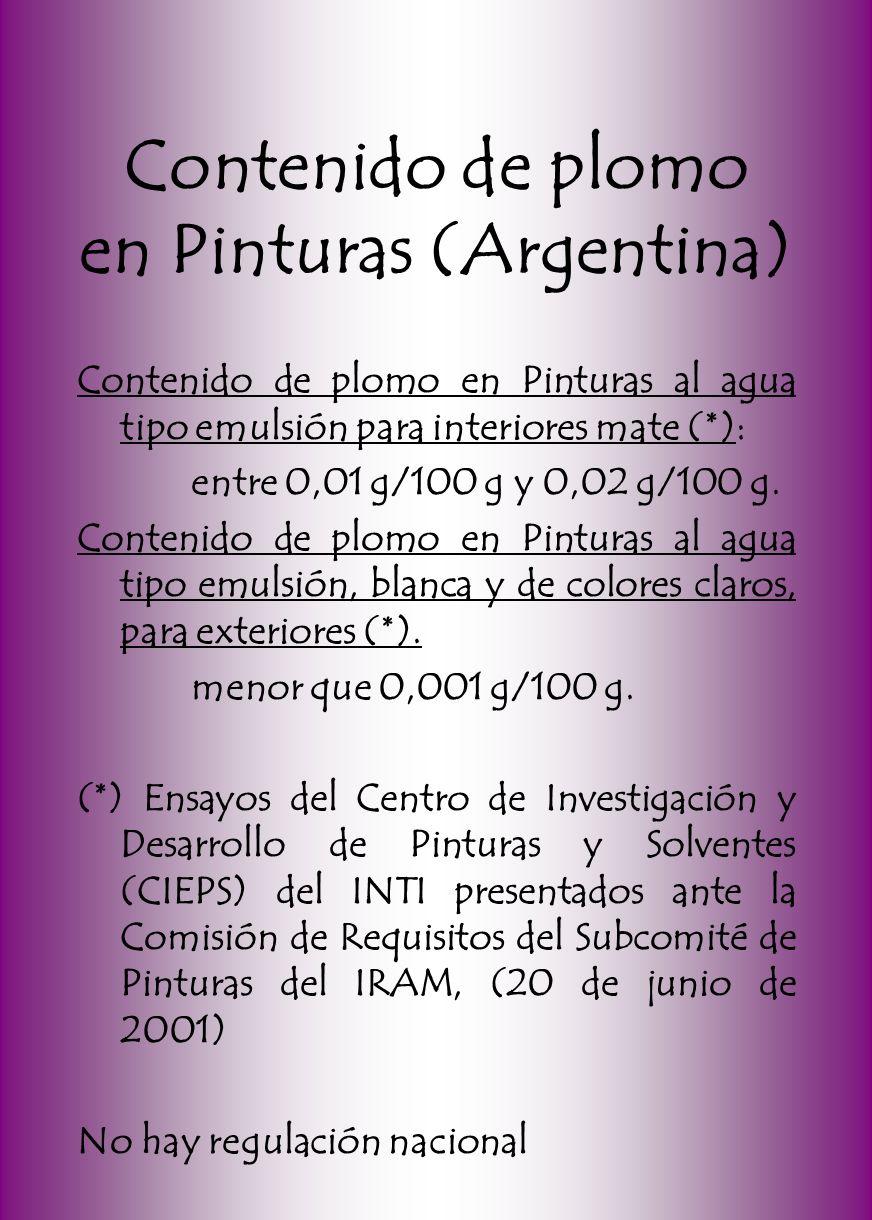 Contenido de plomo en Pinturas (Argentina) Contenido de plomo en Pinturas al agua tipo emulsión para interiores mate (*): entre 0,01 g/100 g y 0,02 g/100 g.