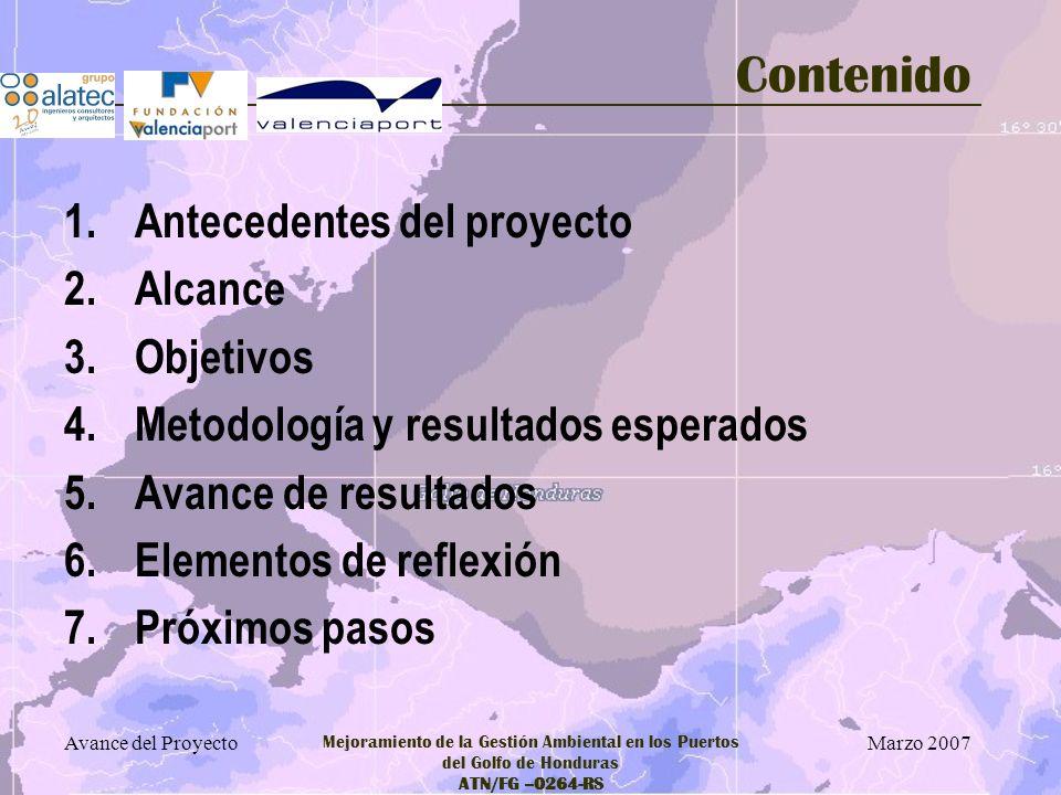 Marzo 2007 Avance del Proyecto Mejoramiento de la Gestión Ambiental en los Puertos del Golfo de Honduras ATN/FG –0264-RS 4.- Metodología Procesos 1.Definición Actividades Aspectos –Partiendo de la información obtenida en sus distintas fases, previa, disponible y visita de campo –Informe de partida para la Valoración de Riesgos –Valida las informaciones recibidas – Sirve como descripción ambiental de cada Puerto 2.Valoración Riesgos Ambientales en las operaciones –Corazón del Sistema –Parte de la descripción ambiental de cada puerto –Se calibrará con la información disponible 3.Valoración Riesgos accidentales Náuticos con repercusiones ambientales 4.Evaluación de las condiciones ambientales y efectos de posibles vertidos –Condiciones ambientales previas existentes –Repercusión sobre el medio de posibles vertidos de hidrocarburos 5.Propuestas de Mejora –A partir del Diagnóstico y de las informaciones recibidas en las Visitas de Campo –Básicas para definir los Planes de Inversión y los Proyectos Piloto posibles 6.Sesiones Formativas Sensibilización –Actividades de apoyo a la recogida de información y al diagnóstico ambiental 7.Necesidades Información Ambiental –Definida a partir del grado de información disponible y las necesidades de conocimiento que se identifiquen a lo largo del proyecto