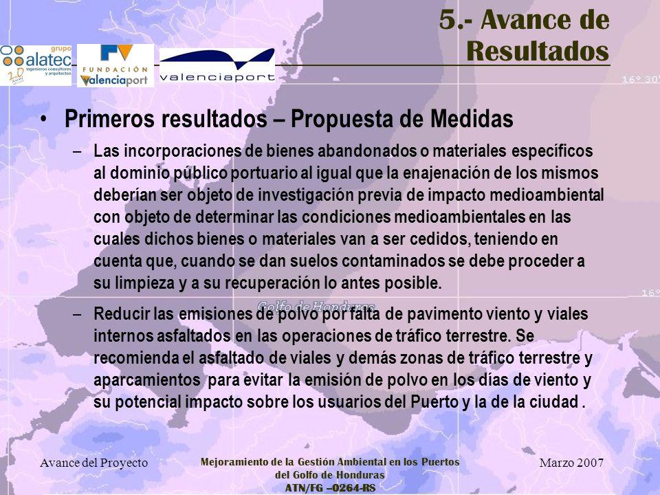 Marzo 2007 Avance del Proyecto Mejoramiento de la Gestión Ambiental en los Puertos del Golfo de Honduras ATN/FG –0264-RS 5.- Avance de Resultados Prim
