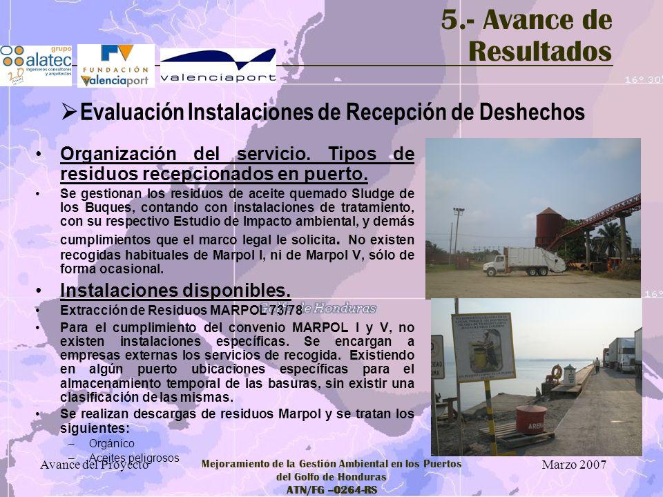 Marzo 2007 Avance del Proyecto Mejoramiento de la Gestión Ambiental en los Puertos del Golfo de Honduras ATN/FG –0264-RS 5.- Avance de Resultados Orga