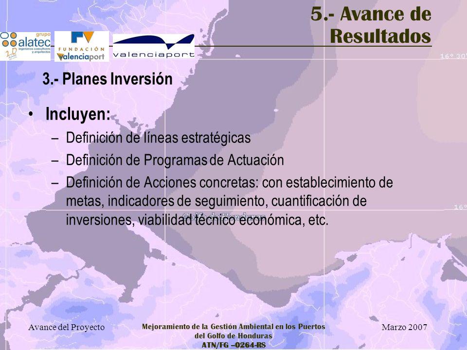 Marzo 2007 Avance del Proyecto Mejoramiento de la Gestión Ambiental en los Puertos del Golfo de Honduras ATN/FG –0264-RS 5.- Avance de Resultados Incl