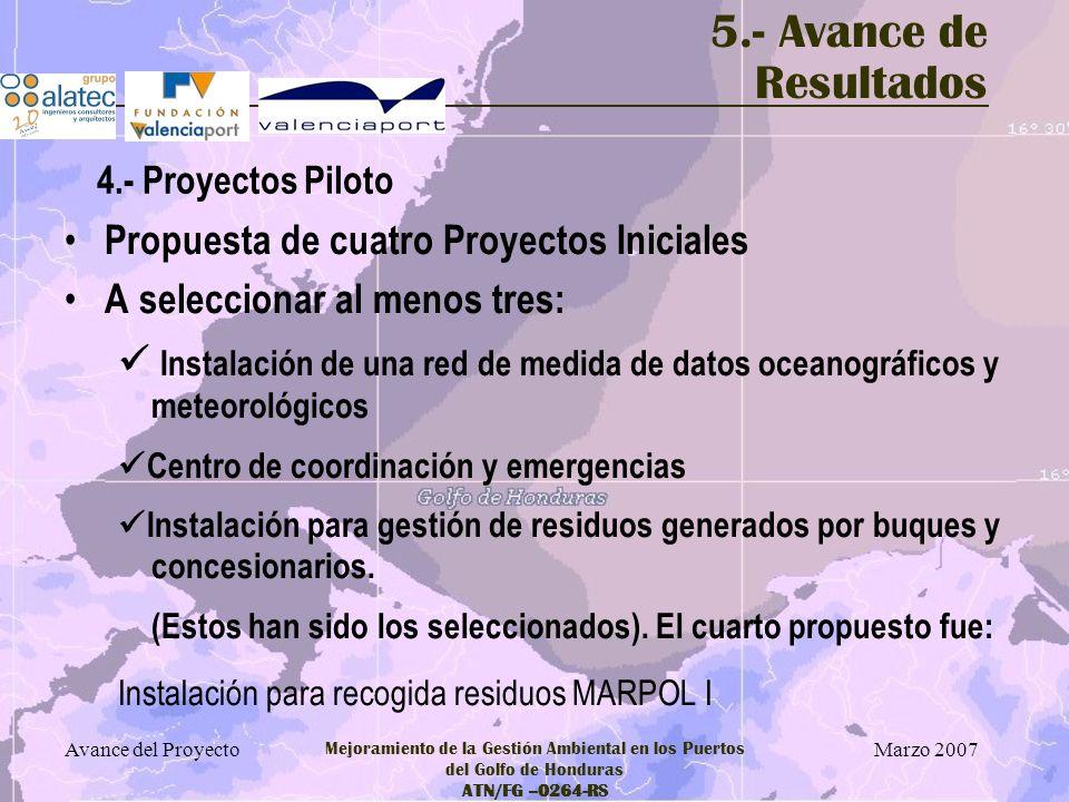 Marzo 2007 Avance del Proyecto Mejoramiento de la Gestión Ambiental en los Puertos del Golfo de Honduras ATN/FG –0264-RS 5.- Avance de Resultados Prop