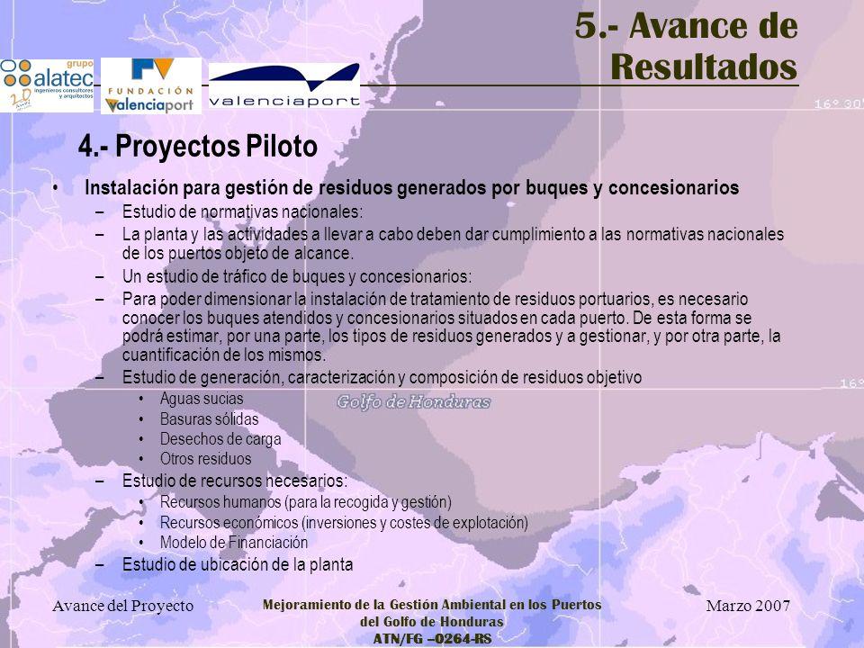 Marzo 2007 Avance del Proyecto Mejoramiento de la Gestión Ambiental en los Puertos del Golfo de Honduras ATN/FG –0264-RS 5.- Avance de Resultados Inst