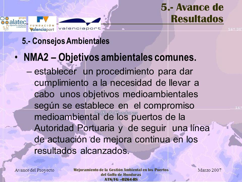 Marzo 2007 Avance del Proyecto Mejoramiento de la Gestión Ambiental en los Puertos del Golfo de Honduras ATN/FG –0264-RS 5.- Avance de Resultados NMA2