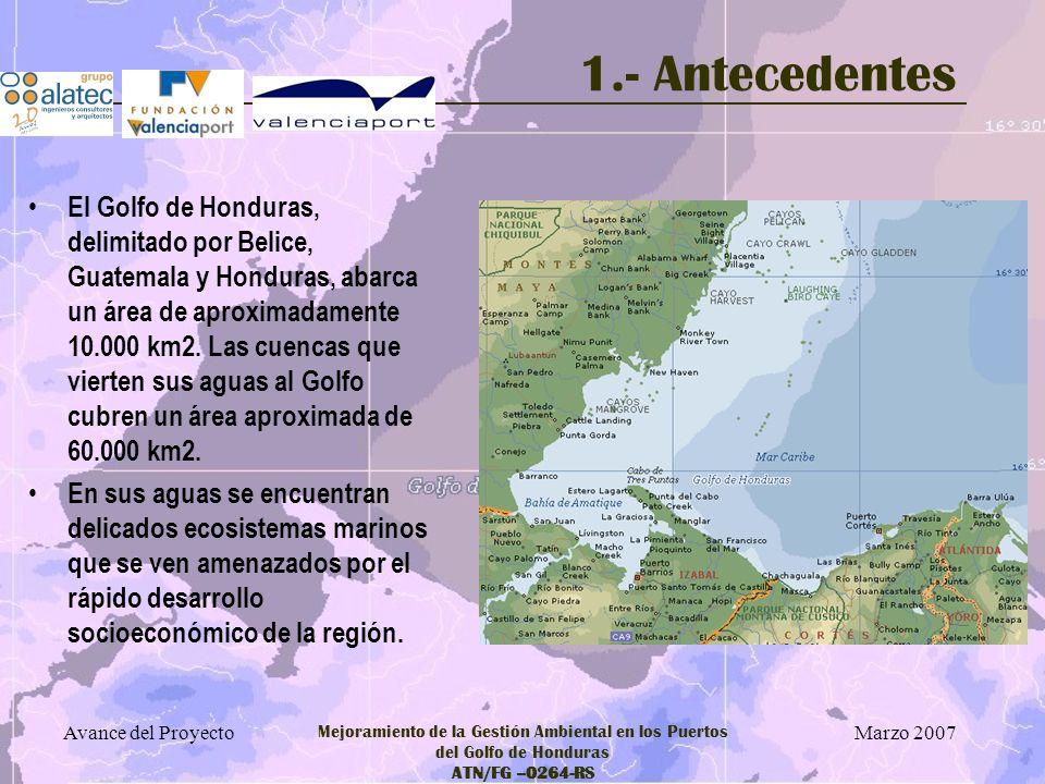 Marzo 2007 Avance del Proyecto Mejoramiento de la Gestión Ambiental en los Puertos del Golfo de Honduras ATN/FG –0264-RS 5.- Avance de Resultados Incluyen: –Definición de líneas estratégicas –Definición de Programas de Actuación –Definición de Acciones concretas: con establecimiento de metas, indicadores de seguimiento, cuantificación de inversiones, viabilidad técnico económica, etc.