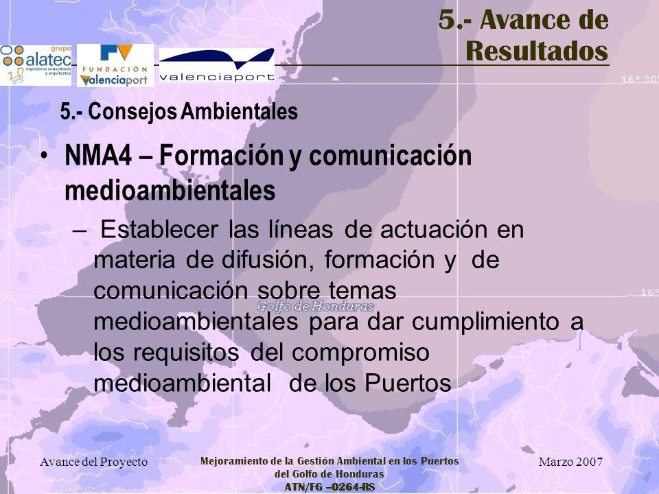 Marzo 2007 Avance del Proyecto Mejoramiento de la Gestión Ambiental en los Puertos del Golfo de Honduras ATN/FG –0264-RS 5.- Avance de Resultados NMA4