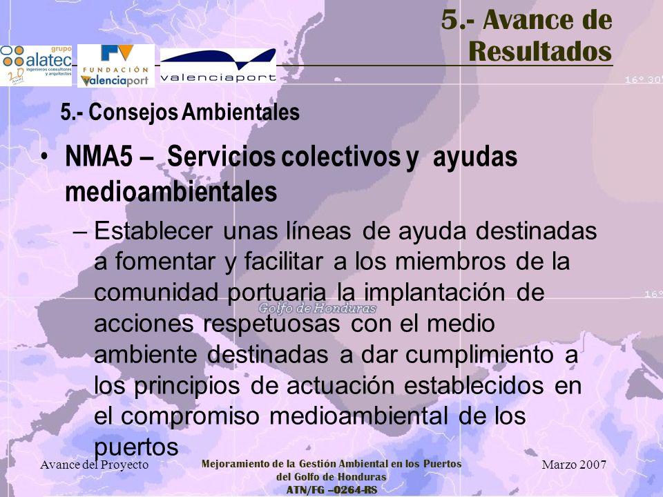 Marzo 2007 Avance del Proyecto Mejoramiento de la Gestión Ambiental en los Puertos del Golfo de Honduras ATN/FG –0264-RS 5.- Avance de Resultados NMA5