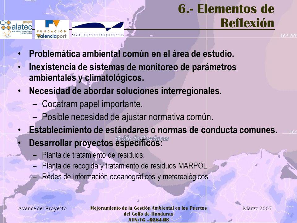 Marzo 2007 Avance del Proyecto Mejoramiento de la Gestión Ambiental en los Puertos del Golfo de Honduras ATN/FG –0264-RS 6.- Elementos de Reflexión Pr