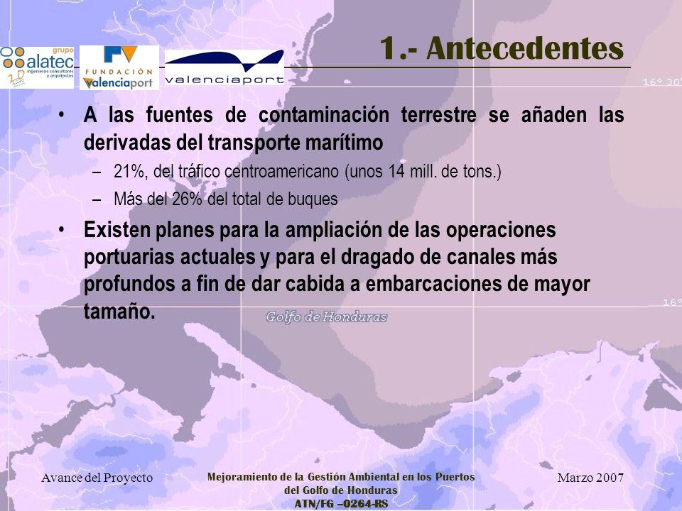 Marzo 2007 Avance del Proyecto Mejoramiento de la Gestión Ambiental en los Puertos del Golfo de Honduras ATN/FG –0264-RS 1.- Antecedentes A las fuente