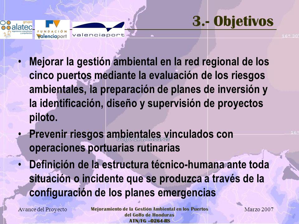 Marzo 2007 Avance del Proyecto Mejoramiento de la Gestión Ambiental en los Puertos del Golfo de Honduras ATN/FG –0264-RS 3.- Objetivos Para alcanzar dichos objetivos, el proyecto se plantea actuar en tres componentes o líneas de trabajo Componente 1: Evaluación de riesgos ambientales de las operaciones portuarias en cada uno de los cinco puertos.