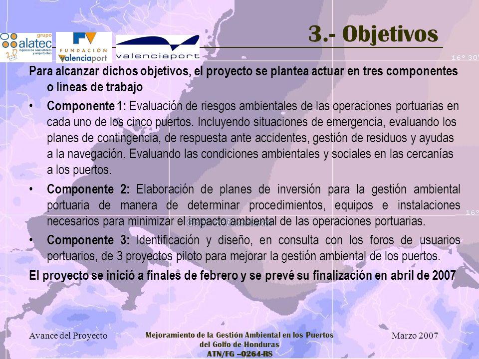 Marzo 2007 Avance del Proyecto Mejoramiento de la Gestión Ambiental en los Puertos del Golfo de Honduras ATN/FG –0264-RS 4.- Metodología Adaptación de Tecnologías contrastadas: Proyecto ECOPORT - Puerto de Valencia ECOPORTS – Asociación Europea de Puertos Marítimos (ESPO) Recomendaciones de Obra Marítima (ROM) - Puertos del Estado de España Modelización de dispersión de contaminantes en aguas marinas Planes de Contingencia de los puertos españoles