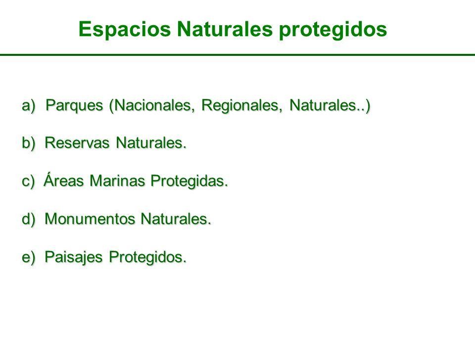 a)Parques (Nacionales, Regionales, Naturales..) b) Reservas Naturales. c) Áreas Marinas Protegidas. d) Monumentos Naturales. e) Paisajes Protegidos. E