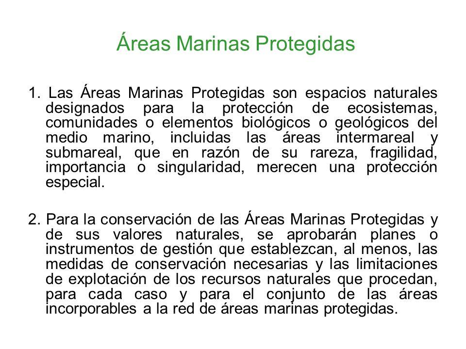 Áreas Marinas Protegidas 1. Las Áreas Marinas Protegidas son espacios naturales designados para la protección de ecosistemas, comunidades o elementos
