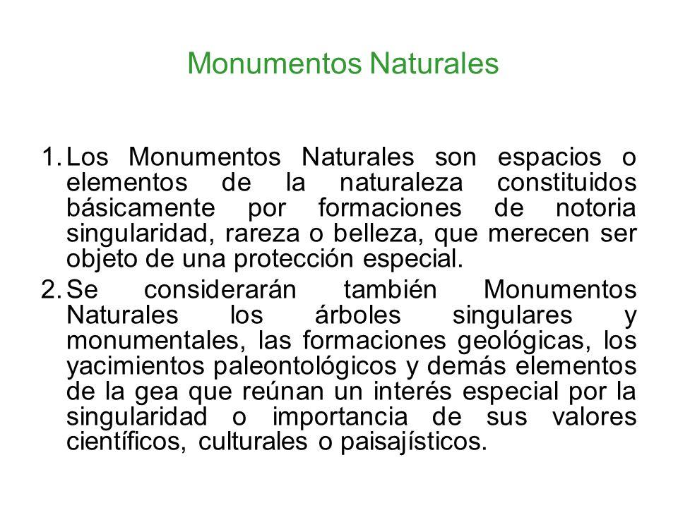 Monumentos Naturales 1.Los Monumentos Naturales son espacios o elementos de la naturaleza constituidos básicamente por formaciones de notoria singular
