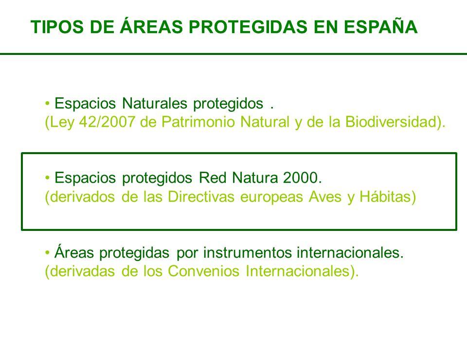 Espacios Naturales protegidos. (Ley 42/2007 de Patrimonio Natural y de la Biodiversidad). Espacios protegidos Red Natura 2000. (derivados de las Direc