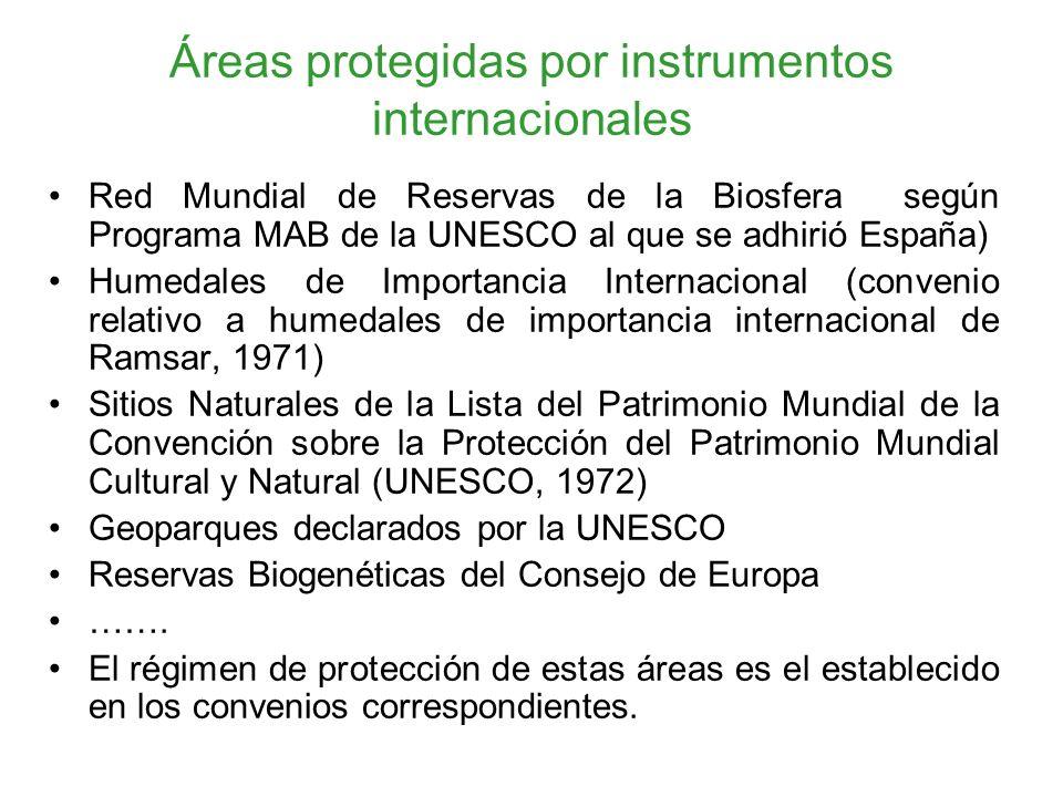 Áreas protegidas por instrumentos internacionales Red Mundial de Reservas de la Biosfera según Programa MAB de la UNESCO al que se adhirió España) Humedales de Importancia Internacional (convenio relativo a humedales de importancia internacional de Ramsar, 1971) Sitios Naturales de la Lista del Patrimonio Mundial de la Convención sobre la Protección del Patrimonio Mundial Cultural y Natural (UNESCO, 1972) Geoparques declarados por la UNESCO Reservas Biogenéticas del Consejo de Europa …….
