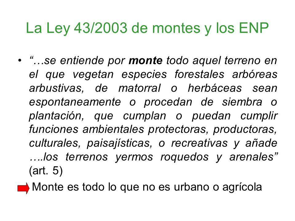 La Ley 43/2003 de montes y los ENP …se entiende por monte todo aquel terreno en el que vegetan especies forestales arbóreas arbustivas, de matorral o