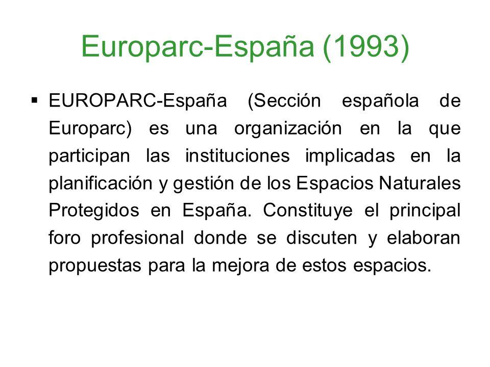 Europarc-España (1993) EUROPARC-España (Sección española de Europarc) es una organización en la que participan las instituciones implicadas en la plan