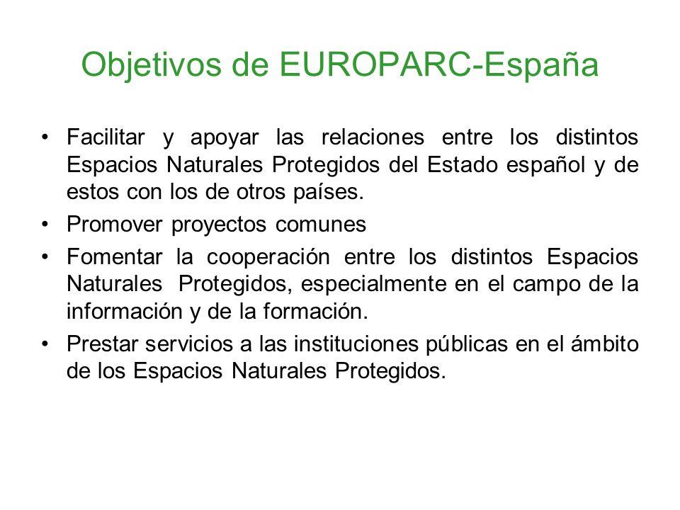 Objetivos de EUROPARC-España Facilitar y apoyar las relaciones entre los distintos Espacios Naturales Protegidos del Estado español y de estos con los