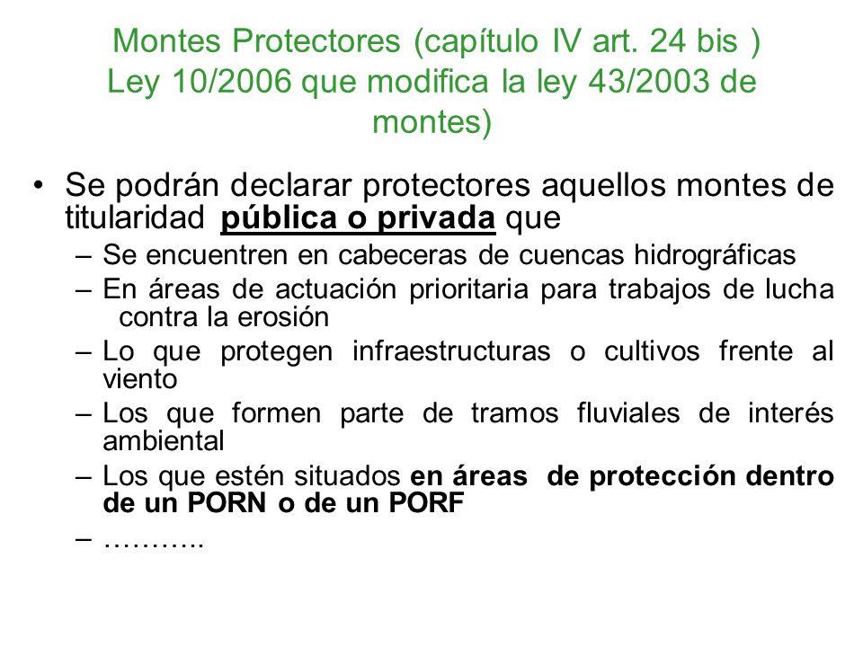 Montes Protectores (capítulo IV art. 24 bis ) Ley 10/2006 que modifica la ley 43/2003 de montes) Se podrán declarar protectores aquellos montes de tit