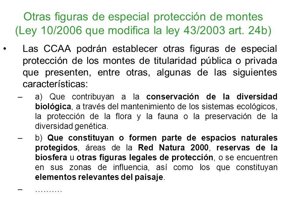Otras figuras de especial protección de montes (Ley 10/2006 que modifica la ley 43/2003 art. 24b) Las CCAA podrán establecer otras figuras de especial