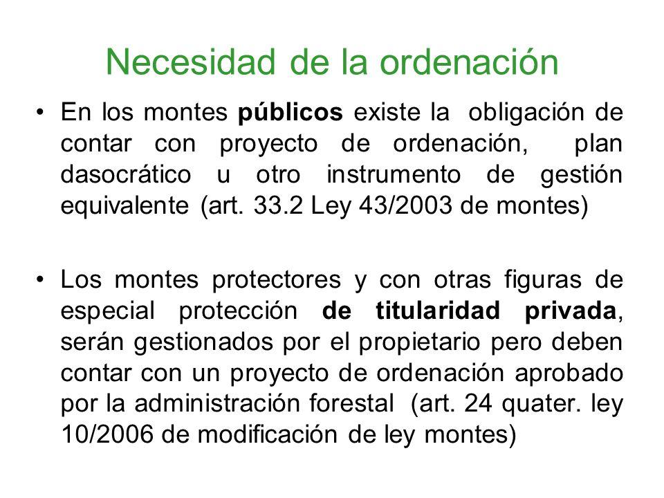 Necesidad de la ordenación En los montes públicos existe la obligación de contar con proyecto de ordenación, plan dasocrático u otro instrumento de gestión equivalente (art.