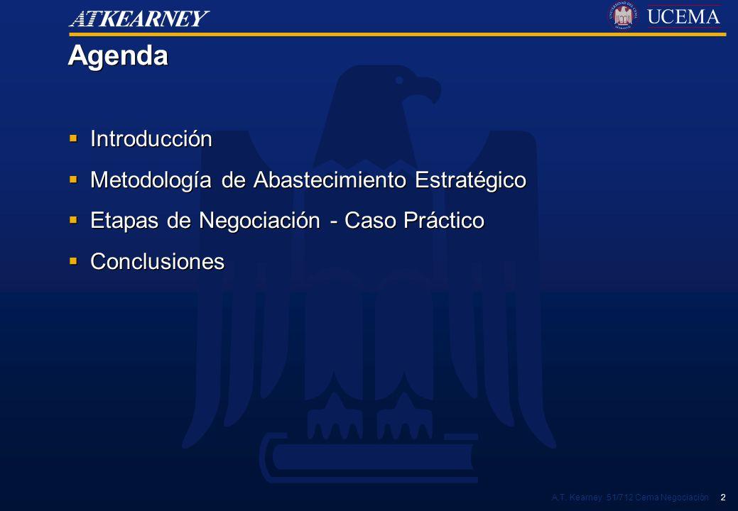 A.T. Kearney 51/712 Cema Negociación 2 Agenda Introducción Metodología de Abastecimiento Estratégico Etapas de Negociación - Caso Práctico Conclusione