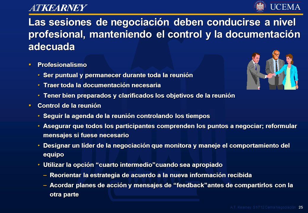 A.T. Kearney 51/712 Cema Negociación 25 Las sesiones de negociación deben conducirse a nivel profesional, manteniendo el control y la documentación ad
