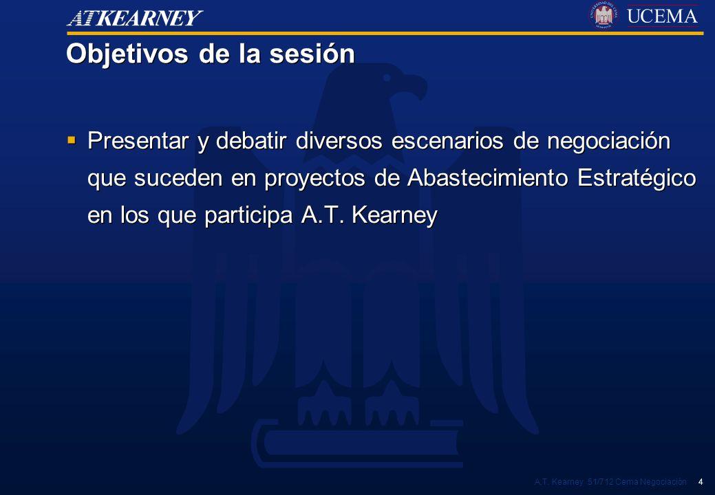 A.T. Kearney 51/712 Cema Negociación 4 Objetivos de la sesión Presentar y debatir diversos escenarios de negociación que suceden en proyectos de Abast