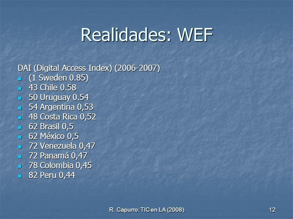 R. Capurro: TIC en LA (2008)12 Realidades: WEF DAI (Digital Access Index) (2006-2007) (1 Sweden 0.85) (1 Sweden 0.85) 43 Chile 0.58 43 Chile 0.58 50 U