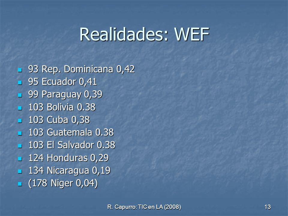 R. Capurro: TIC en LA (2008)13 Realidades: WEF 93 Rep. Dominicana 0,42 93 Rep. Dominicana 0,42 95 Ecuador 0,41 95 Ecuador 0,41 99 Paraguay 0,39 99 Par