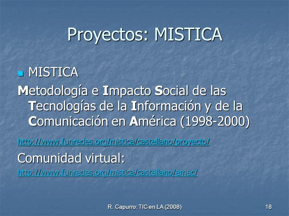 R. Capurro: TIC en LA (2008)18 Proyectos: MISTICA MISTICA MISTICA Metodología e Impacto Social de las Tecnologías de la Información y de la Comunicaci
