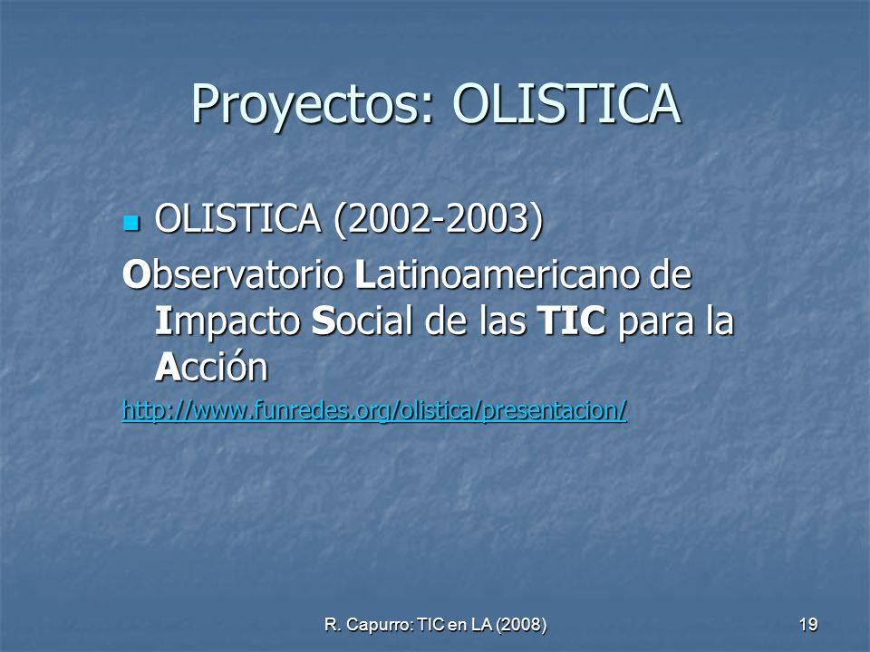 R. Capurro: TIC en LA (2008)19 Proyectos: OLISTICA OLISTICA (2002-2003) OLISTICA (2002-2003) Observatorio Latinoamericano de Impacto Social de las TIC