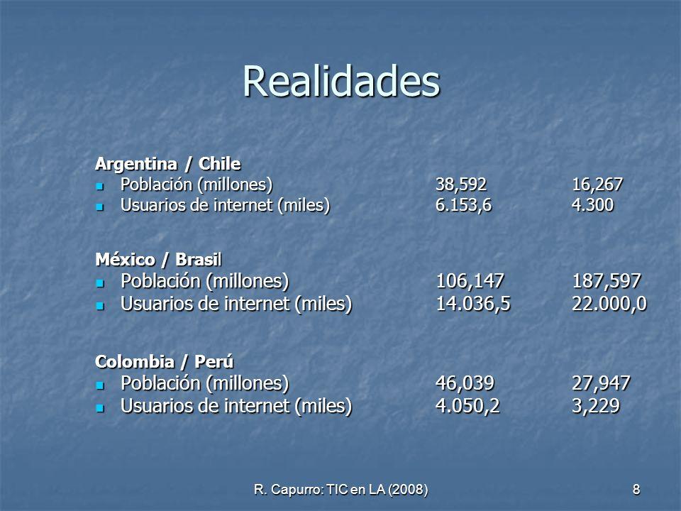 8 Realidades Argentina / Chile Población (millones) 38,59216,267 Población (millones) 38,59216,267 Usuarios de internet (miles) 6.153,64.300 Usuarios