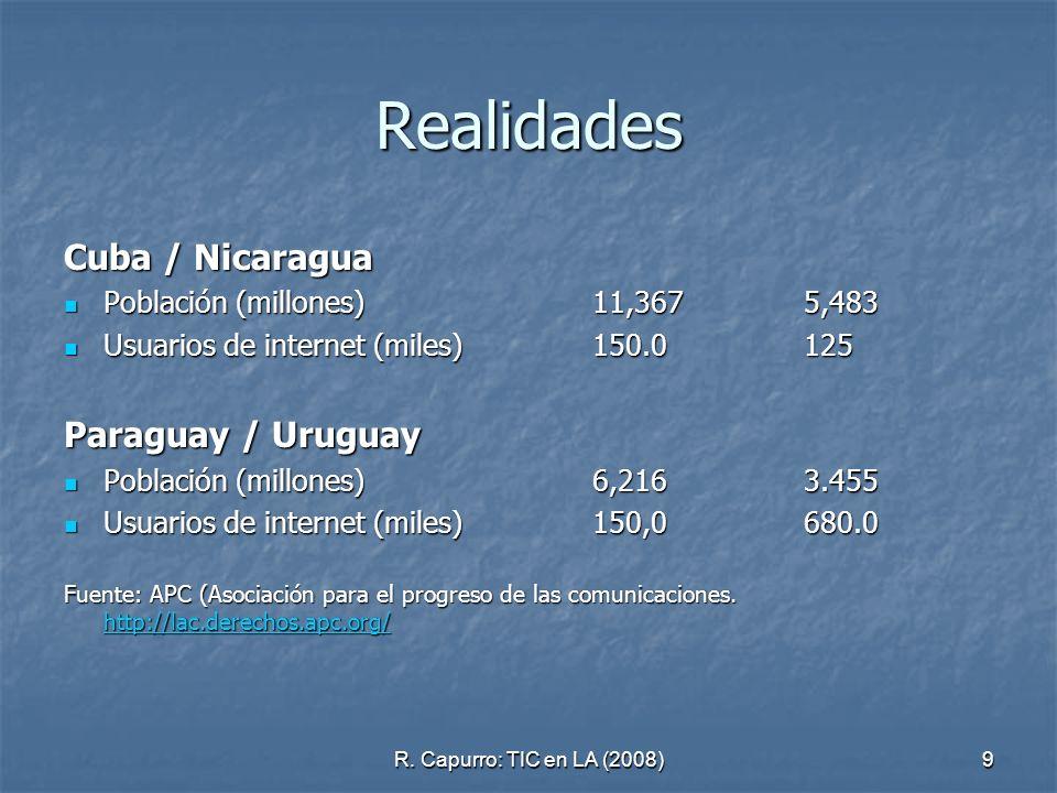 R. Capurro: TIC en LA (2008)9 Realidades Cuba / Nicaragua Población (millones)11,3675,483 Población (millones)11,3675,483 Usuarios de internet (miles)