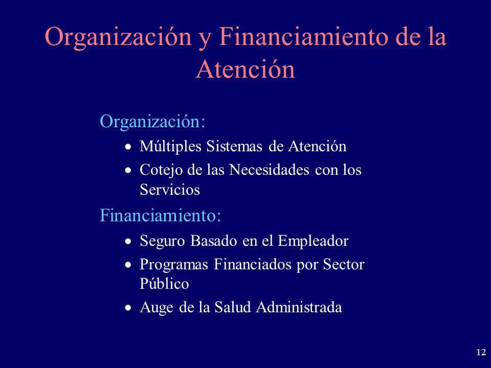 12 Organización y Financiamiento de la Atención Organización: Múltiples Sistemas de Atención Cotejo de las Necesidades con los Servicios Financiamient