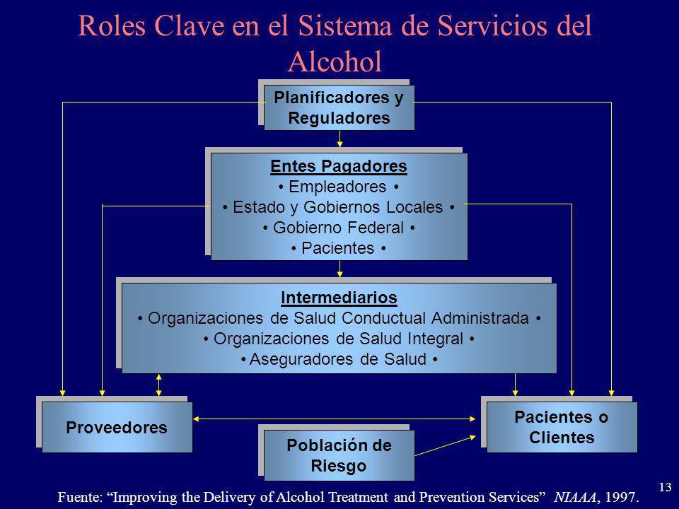 13 Planificadores y Reguladores Planificadores y Reguladores Roles Clave en el Sistema de Servicios del Alcohol Entes Pagadores Empleadores Estado y G