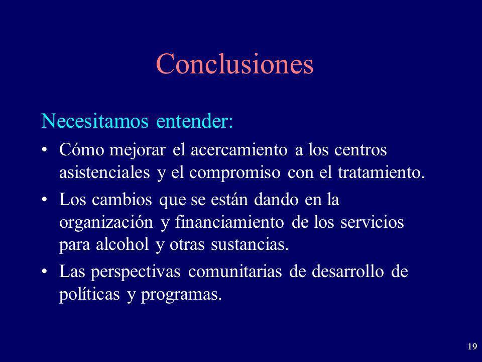 19 Conclusiones Necesitamos entender: Cómo mejorar el acercamiento a los centros asistenciales y el compromiso con el tratamiento. Los cambios que se