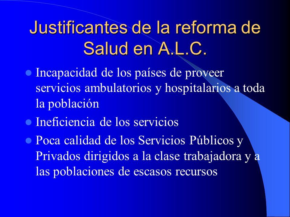Justificantes de la reforma de Salud en A.L.C. Incapacidad de los países de proveer servicios ambulatorios y hospitalarios a toda la población Inefici