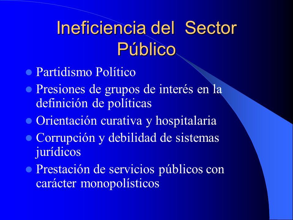 Ineficiencia del Sector Público Partidismo Político Presiones de grupos de interés en la definición de políticas Orientación curativa y hospitalaria C